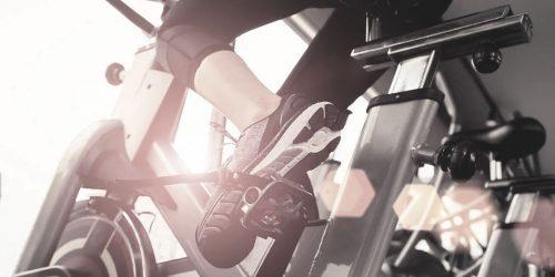 women shoe on a fitness bike